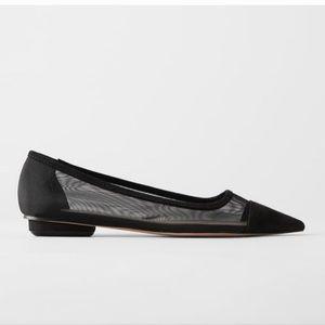 Zara mesh black ballerina flats size 6.5